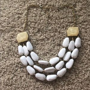 White and ivory/gold beaded necklace